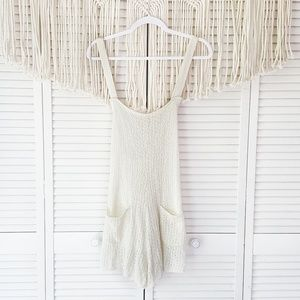 SALE FREE PEOPLE Cream Boho Lace Button Overalls M